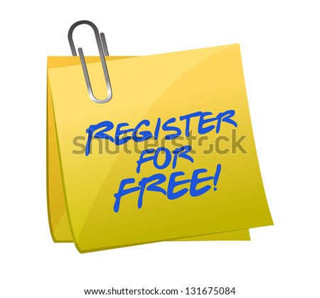 Register for FREE sign up concept on a post-it illustration design - stock photo