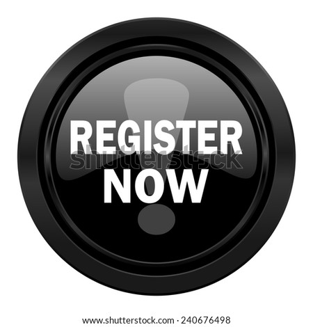 register now black icon   - stock photo