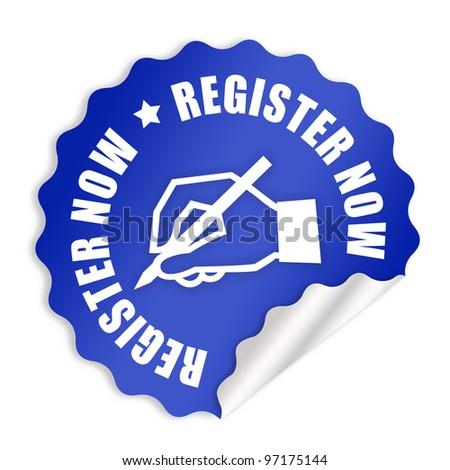 Register now label - stock photo
