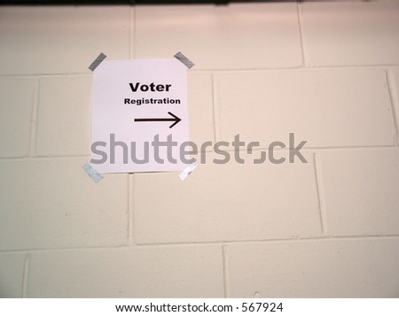Register to Vote Here! - stock photo