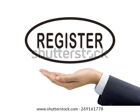 register word holding by businessman's hand over white background
