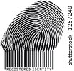Registered Identity - Fingerprint becoming barcode (raster format) - stock photo