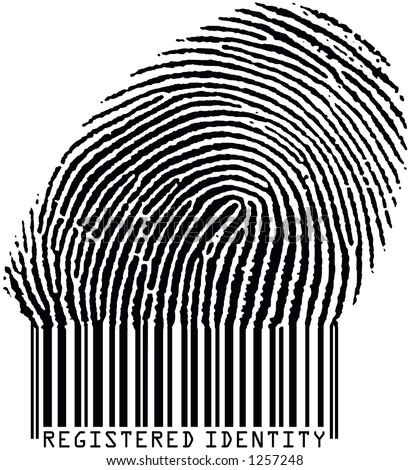 Registered Identity - Fingerprint becoming barcode (raster format)