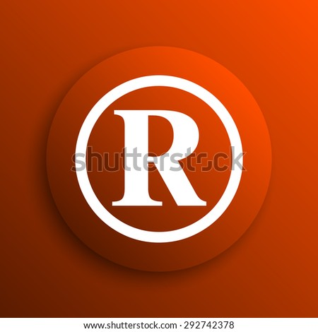 Registered mark icon. Internet button on orange background  - stock photo