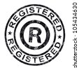 Registered Stamp Showing Copyright Or Trademark - stock photo