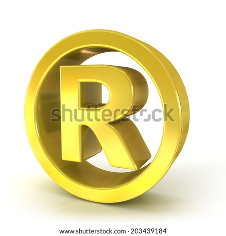 Registered trademark 3d golden sign isolated on white background - stock photo