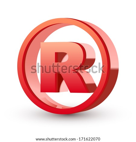 registered trademark sign isolated white background - stock photo
