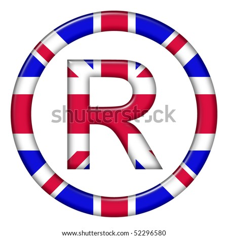 Registered trademark symbol showing UK flag - stock photo