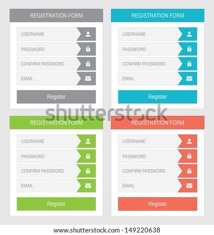 Registration form, flat design - stock photo