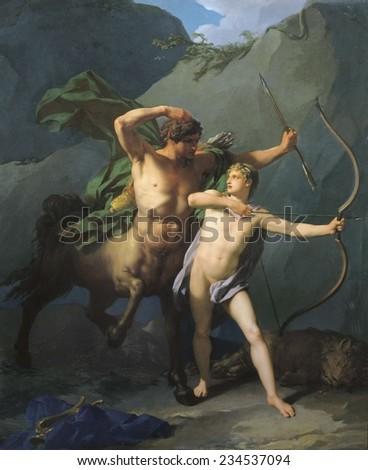 REGNAULT, Jean Baptiste (1754-1829), Education of Achilles by Chiron, 1782, Oil on canvas,