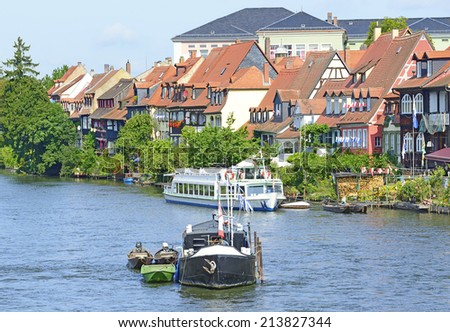 Regnitz River waterfront in Bamberg, Germany. The historic center of Bamberg is UNESCO World Heritage Site - stock photo