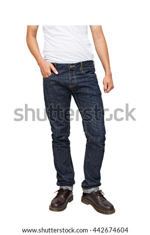 Regular Fit Straight Leg Jeans and leather shoe (Half Shooting) isolated on white background, selective focus (detailed close-up shot) - stock photo