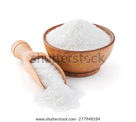 Regular table salt in a wooden bowl isolated on white background - stock photo