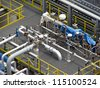 Regulating station with pressure relief valves, instrumentation and pressure regulating valves - stock photo