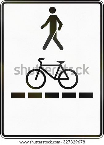 Regulatory road sign in Quebec, Canada - Pedestrian walkway and bicycle path.