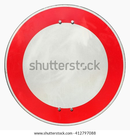 Regulatory signs,  No entry for vehicular traffic sign - isolated over white - stock photo