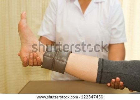 Below Knee Stump Bandaging Stock Photo 557636035