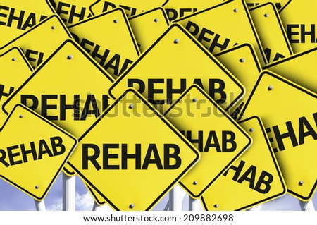 Rehab written on multiple road sign  - stock photo