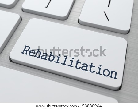 Rehabilitation - Medical Concept. Button on Modern Computer Keyboard. 3D Render. - stock photo