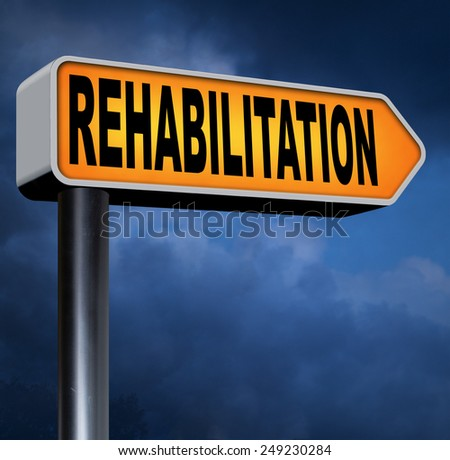 rehabilitation rehab for drugs alcohol addiction or sport and accident injury physical or mental therapy  - stock photo