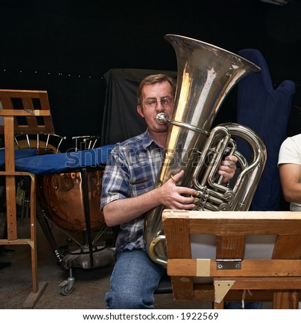 Rehearsal  brass-band of Philharmonic Society of Kazakhstan, Astana - stock photo