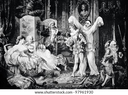 """Rehearsal for the masquerade. Engraving by Geyer, Kirmze  from picture by Shveninger. Published in magazine """"Niva"""", publishing house A.F. Marx, St. Petersburg, Russia, 1888 - stock photo"""