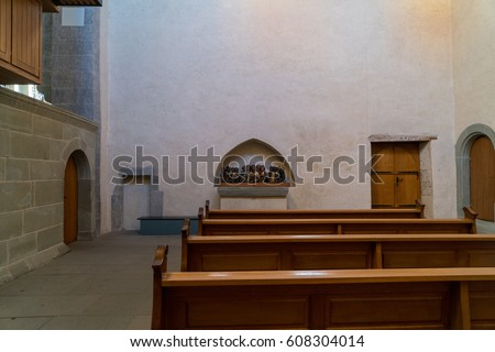 REICHENAU, GERMANY - DECEMBER 27, 2016: Interior of the Benedictine St Mary and Mark Abbey (Munster St. Maria und Markus) church situated on the Reichenau island near Konstanz, Germany.