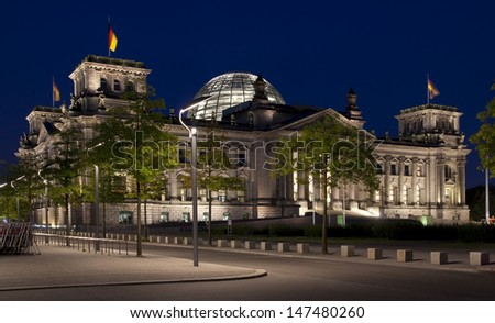 reichstag berlin night travel - stock photo