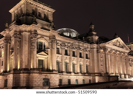 Reichstag building at night. Berlin, Germany. - stock photo