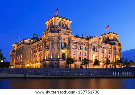 reichstag building german parliament in berlin germany - stock photo