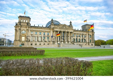Reichstag building in Berlin in Germany. Reichstag is a well-known building which is placed on the Konigsplatz. Bundestag (Parliament of Germany) works in the Reichstag building.
