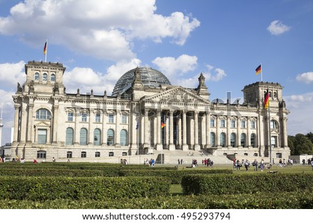 Reichstag building, seat of the German Parliament (Deutscher Bundestag), in Berlin Mitte district, Germany