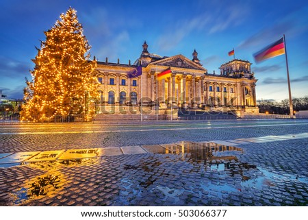 Reichstag christmas tree at night, Berlin, Germany