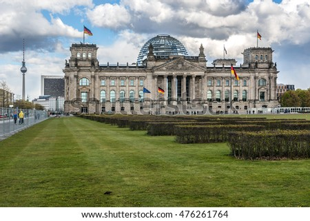 Reichstag (German Parliament, opened in 1894 and Renovated in 1961 - 1964) - Headquarter of the German Government. Berlin, Germany.