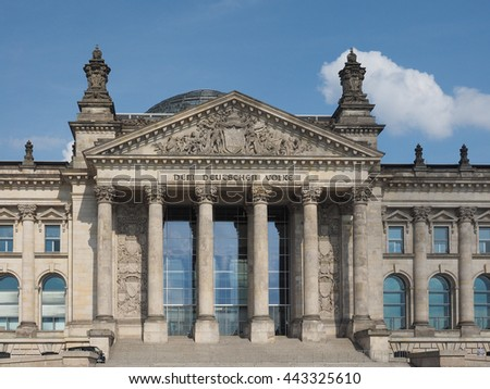 Reichstag houses of parliament in Berlin, Germany