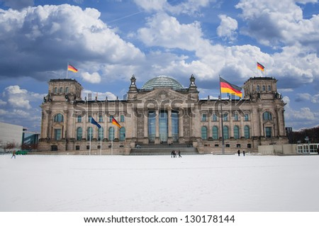 Reichstag in Berlin at day - stock photo