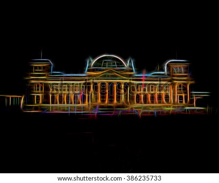 Reichstag in Berlin. Germany. Neon style