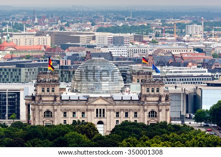 reichstag with german and european union flags in Berlin
