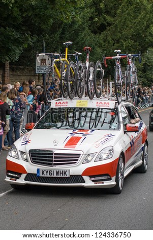 REIGATE - SEPTEMBER 16: A Team UKyouth support vehicle during the eigth stage of the Tour of Britain cycle race, September 16, 2012, Reigate, England. It was won by World Champion Mark Cavendish. - stock photo