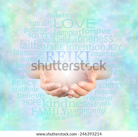 Reiki Share - Female hands cupped with the word 'Reiki' floating above, surrounded by a relevant healing word cloud on a misty sparkling ethereal blue energy background   - stock photo