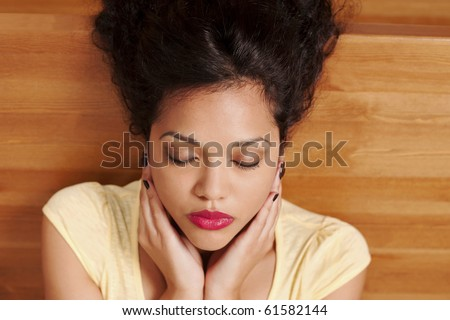 Reiki therapy, hand position neck - stock photo