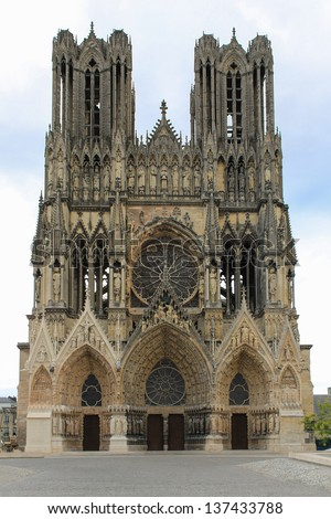 Reims, Cathedral of Notre-Dame, Champagne, France - stock photo