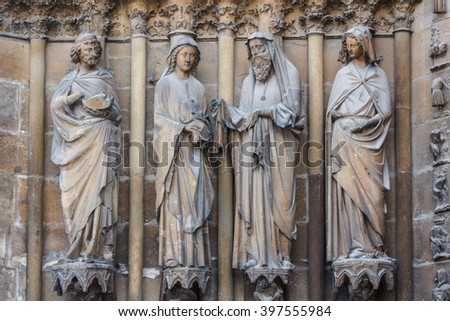 REIMS / FRANCE - MAY 2013: Facade decoration of the Reins Cathedral, France