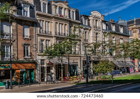 reims france september 5 2017 streets stock photo royalty free 724473460 shutterstock. Black Bedroom Furniture Sets. Home Design Ideas