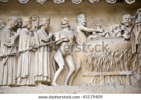 Reims (Marne, Champagne-Ardenne, France) - Exterior of the cathedral in gothic style, detail - stock photo