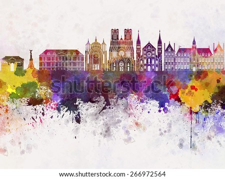 Reims skyline in watercolor background - stock photo