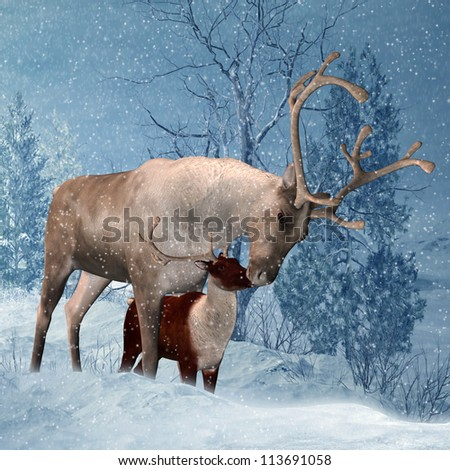Reindeer and Fawn Winter Greeting Card - stock photo