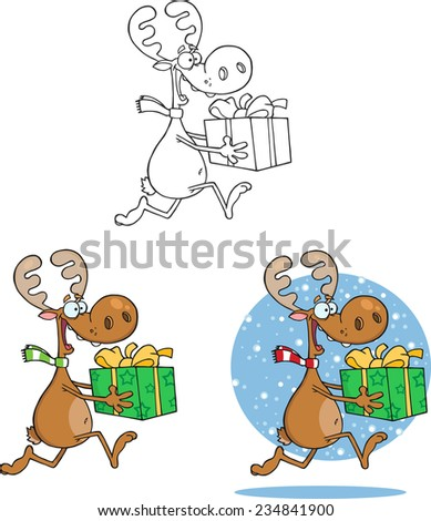 Reindeer Cartoon Character Running With Gift. Raster Collection Set - stock photo