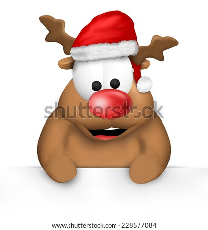 Reindeer Cartoon Happy with Christmas Hat blank board - stock photo
