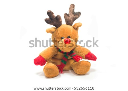 Reindeer doll isolated on white background.
